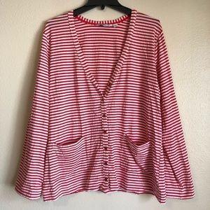 Striped Cardigan w/ Pockets by Isaac Mizrahi Sz L